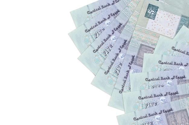 Rachunki funtów egipskich leży na białym tle