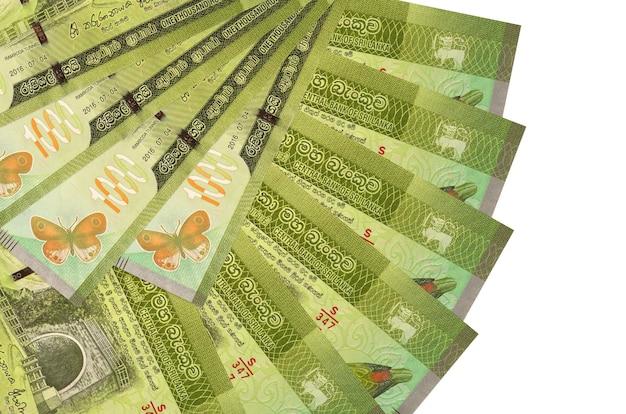 Rachunki rupii lankijskich r. na białej powierzchni