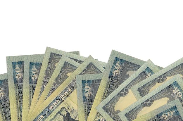 Rachunki rupii nepalskich leży w dolnej części ekranu na białym tle