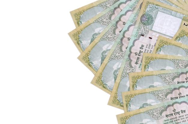 Rachunki rupii nepalskich r. na białej powierzchni