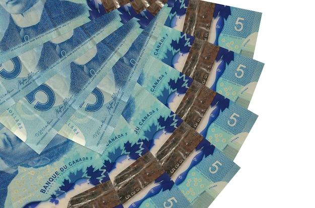 Rachunki w dolarach kanadyjskich leży na białym tle
