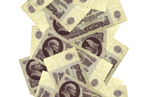 Rachunki za 25 rubli rosyjskich pływające w dół na białym tle. wiele banknotów spadających z białymi miejscami na kopię po lewej i prawej stronie