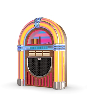 Radio retro szafa grająca na białym tle