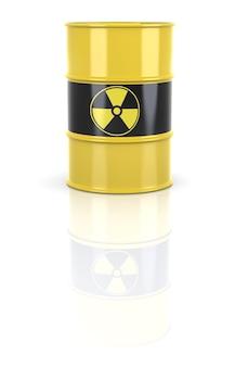 Radioaktywna beczka. beczki zawierają odpady radioaktywne. renderowanie 3d