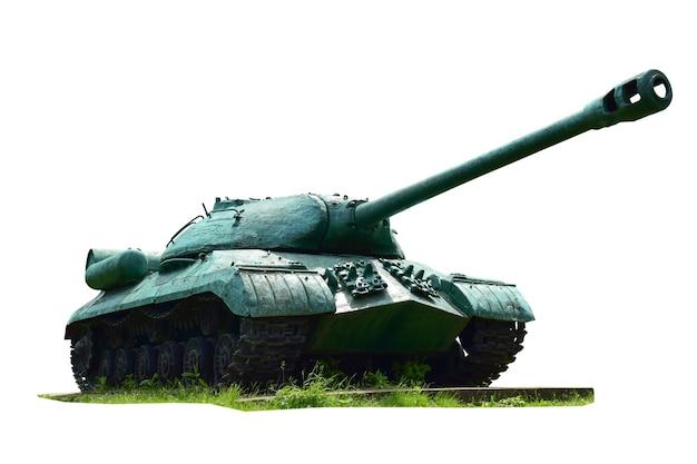 Radziecki czołg ciężki sfotografowany przód i bok na białym tle ze ścieżką przycinającą