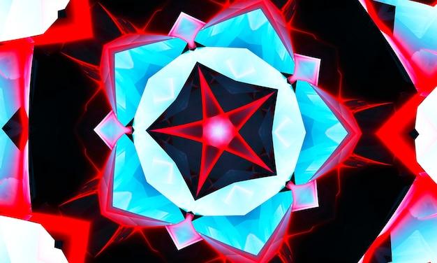 Radziecki ozdobny ornament z czerwoną gwiazdą na niebieskim tle. kalejdoskop z czerwoną gwiazdą