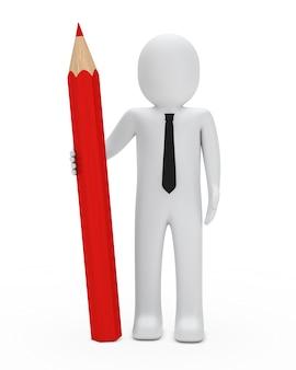 Rag doll z dużym czerwonym ołówkiem