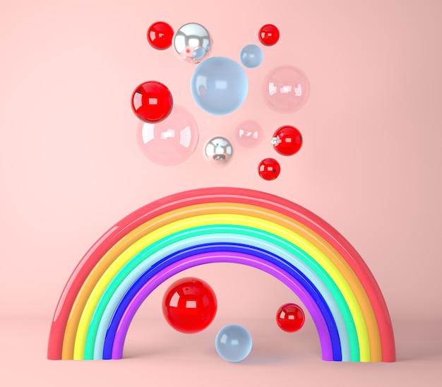 Rainbow z kolorowych kulek renderowania 3d