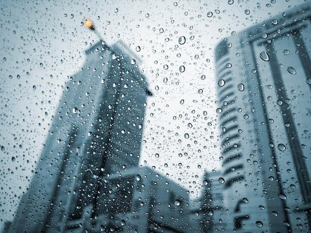 Raindrops na trawie w deszczowym dniu
