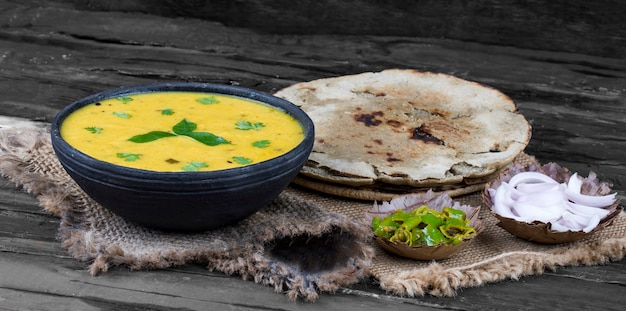 Rajasthani and gujarati traditional cuisine kadhi lub bajra roti
