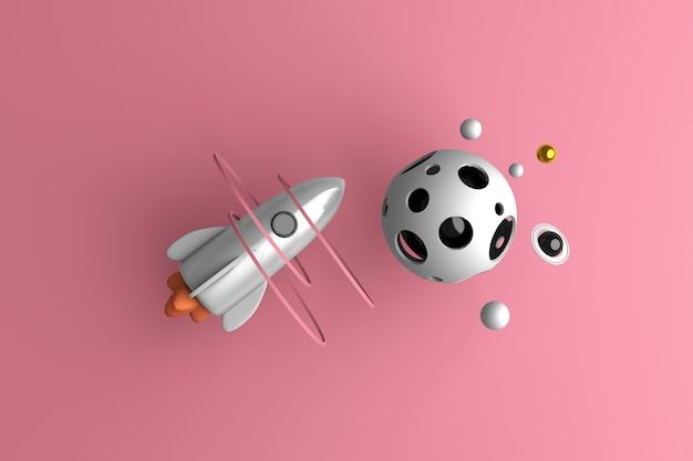 Rakieta latająca w kosmosie na różowym tle