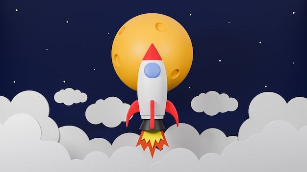 Rakieta lecąca nad chmurą leci na księżyc na tle galaktyki. koncepcja uruchomienia biznesu. model 3d i ilustracja.