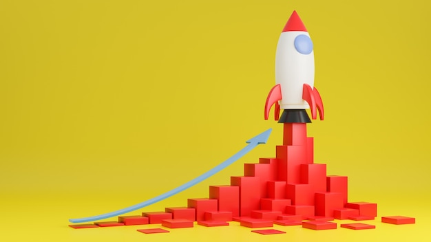 Rakieta leci w górę z wykresem finansów na żółtym tle. koncepcja uruchomienia firmy. model 3d i ilustracja.