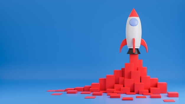 Rakieta leci w górę z wykresu finansowego finansów na niebieskim tle. koncepcja uruchomienia firmy. model 3d i ilustracja.