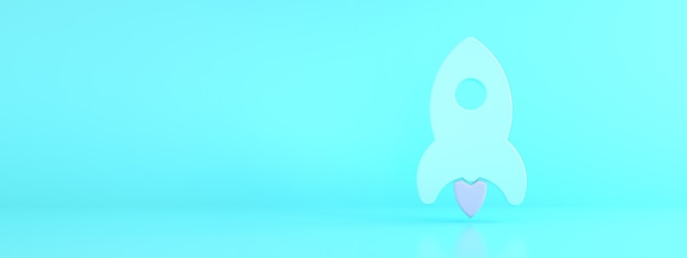 Rakieta na niebieskim tle, koncepcja biznesowa uruchamiania, renderowanie 3d, makieta panoramiczna