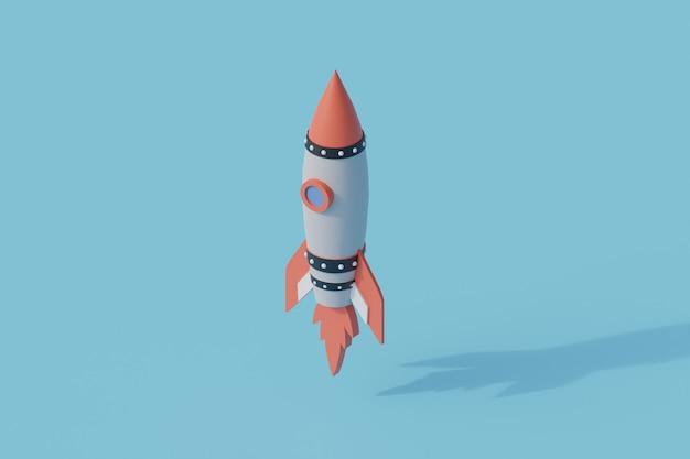 Rakieta startowa wystrzeliwuje pojedynczy izolowany obiekt. renderowanie 3d