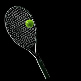 Rakieta tenisowa z piłką na czarno