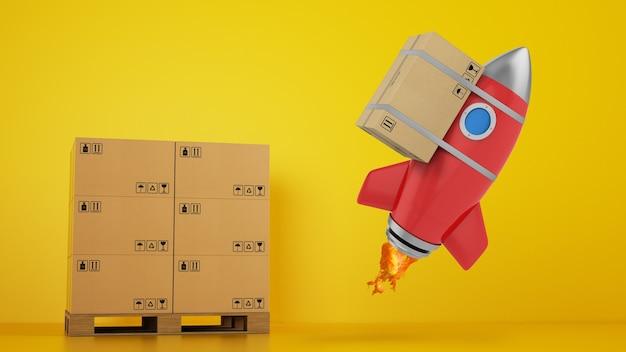 Rakieta z dołączonym pakietem jest gotowa do startu. koncepcja szybkiej i priorytetowej dostawy. żółte tło