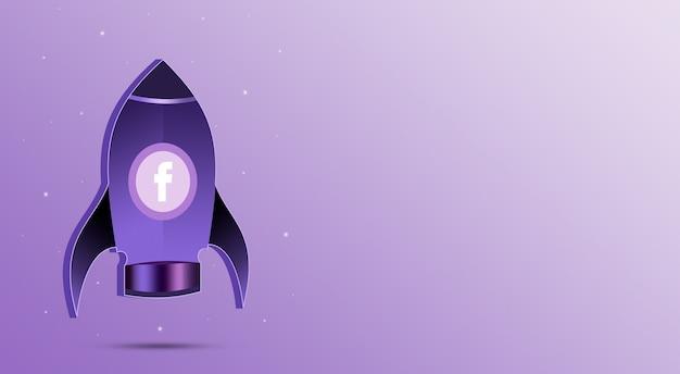 Rakieta z ikoną facebooka w iluminatorze 3d