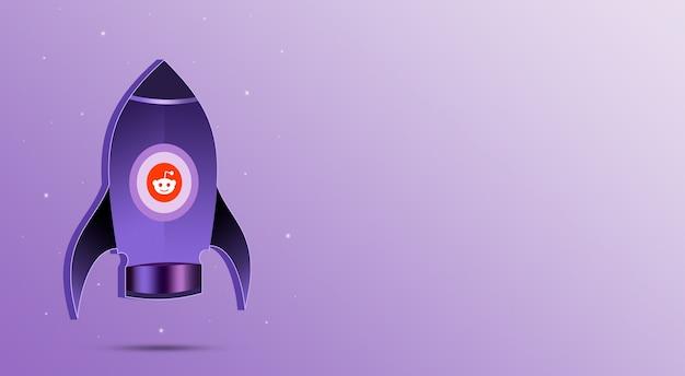 Rakieta z ikoną reddita w iluminatorze 3d