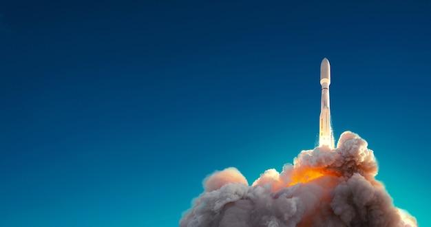 Rakieta z powodzeniem wystrzelona w kosmos na tle błękitnego nieba. start statku kosmicznego