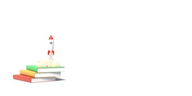 Rakieta zabawek startuje z książek, wyrzucając dym na białym tle