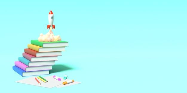 Rakieta zabawek startuje z książek, wyrzucając dym na niebieskim tle