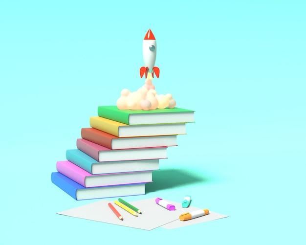 Rakieta-zabawka startuje z książek wyrzucając dym. ilustracja szkoły. renderowanie 3d.