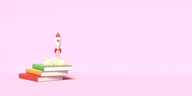 Rakieta-zabawka startuje z książek wyrzucających dym na różowym tle