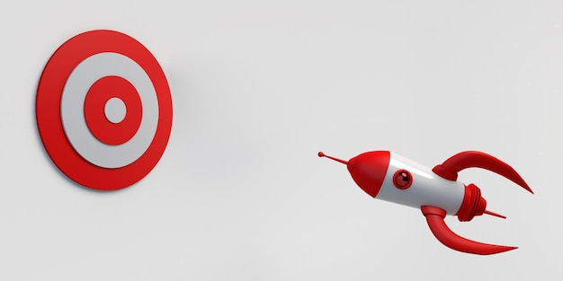 Rakieta zmierza do środka docelowej ilustracji banner 3d