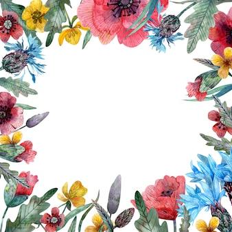 Rama akwarela dzikich kwiatów