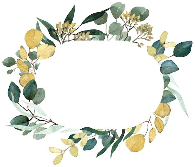 Rama akwarela lato zieleni. zasiane gałęzie eukaliptusa, wiosenna zieleń. rama kwiatowy zaproszenie ślubne. złote i zielone liście