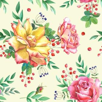 Rama czerwonych róż z zielonymi liśćmi na białym tle.