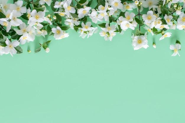 Rama kwiatowy. wiosenne kwiaty na zielonej ścianie, kopia przestrzeń.