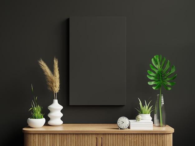 Rama makiety na szafce we wnętrzu salonu na pustej ciemnej ścianie background.3d renderowania