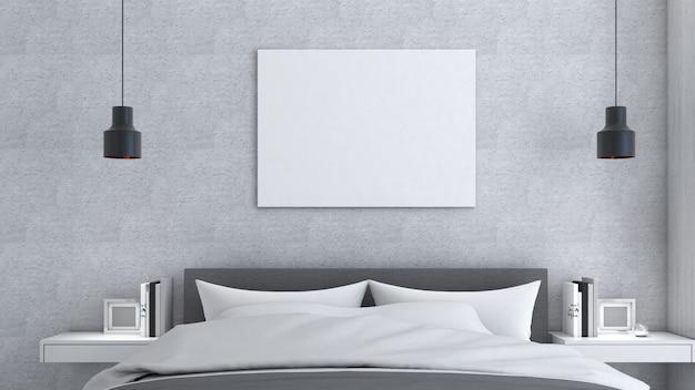 Rama makiety na szarej ścianie z łóżkiem, styl loft, makieta plakatu, renderowanie 3d