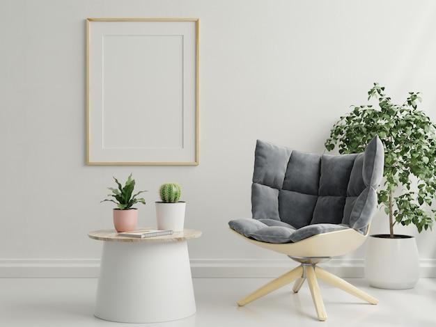Rama makiety we wnętrzu salonu z fotelem, skandynawski styl, renderowanie 3d