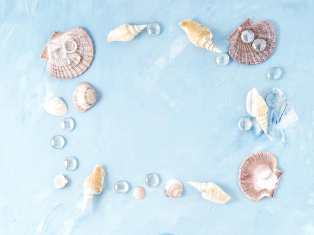 Rama muszla na niebieskim tle kamienia, muszelki, kopia. lato