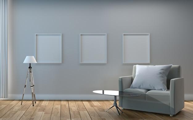 Rama na pustym bielu ściany tle - biały pokój z poduszką na kanapie i stole.