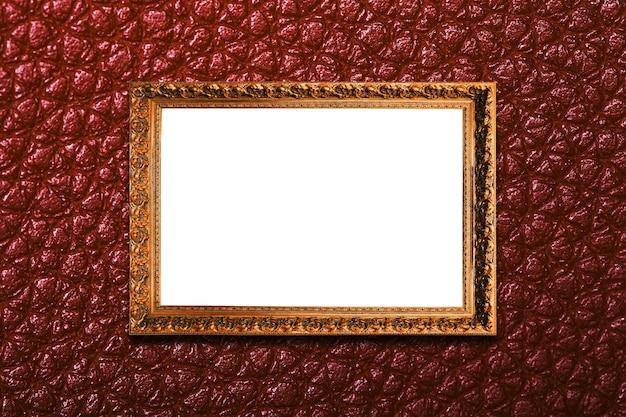 Rama na tekstury brązowej ścianie. na białym tle