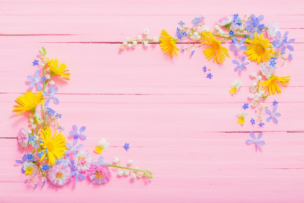 Rama piękni kwiaty na różowym drewnianym tle