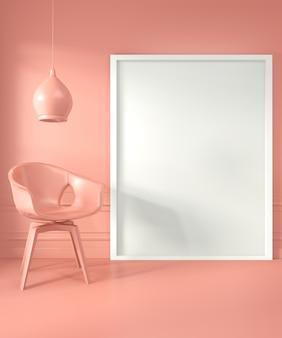 Rama plakatowa i krzesło, lampa w salonie salon w stylu koralowym. renderowanie 3d