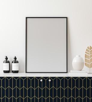 Rama plakatowa makieta w jasnym nowoczesnym wnętrzu z białą ścianą i dekoracją, renderowanie 3d