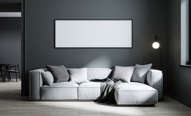 Rama plakatowa makieta w nowoczesnym tle wnętrza salonu z jasnoszarą sofą i szarą ścianą, minimalistyczny skandynawski styl, ilustracja 3d