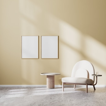 Rama plakatowa makieta w nowoczesnym wnętrzu salonu z beżowym fotelem i stolikiem kawowym z beżową ścianą i betonową podłogą, skandynawski styl, renderowanie 3d