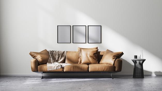 Rama plakatowa makieta w nowoczesnym wnętrzu salonu z białą ścianą i promieniami słonecznymi, brązową skórzaną sofą i czarnym stolikiem kawowym na surowej betonowej podłodze, skandynawski styl minimalistyczny, renderowanie 3d
