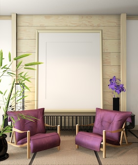 Rama plakatowa ryokan z fotelem i dekoracją na podłodze z mat tatami. renderowanie 3d