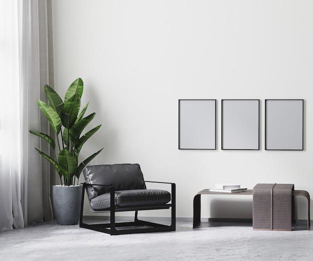 Rama plakatowa w nowoczesnym wnętrzu pokoju w odcieniach szarości, biała pusta ściana makieta, renderowanie 3d