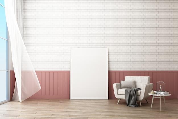 Rama plakatowa z dekoracją ściany z cegły i fotel renderowania 3d w stylu skandynawskim