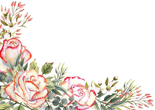 Rama pozioma z akwarelowymi kwiatami róży, liśćmi, wystrojem